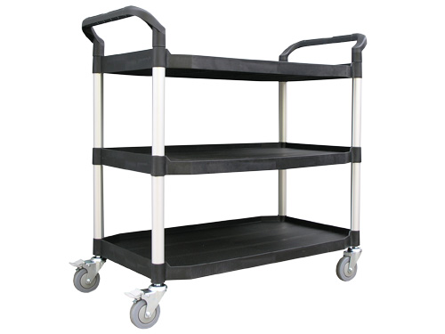SERVICE TROLLEY LARGE 3 TIER BLACK (2864)