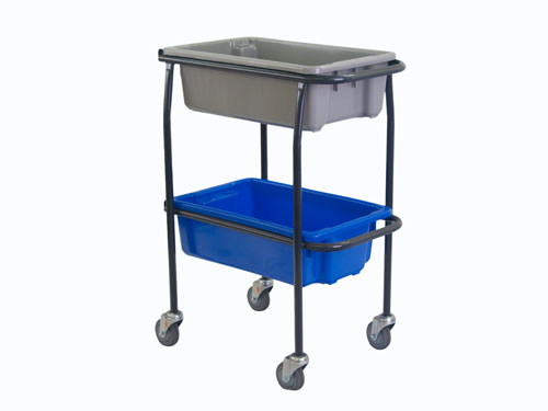 2 TIER TROLLEY WITH 4X S4118B CASTOR (2874)