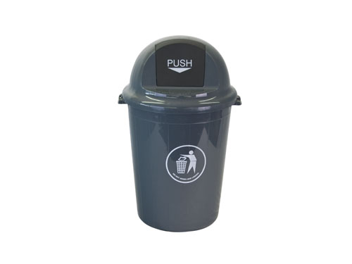 LOGX PUSH TOP BIN W/LID 65L GREY (3180)