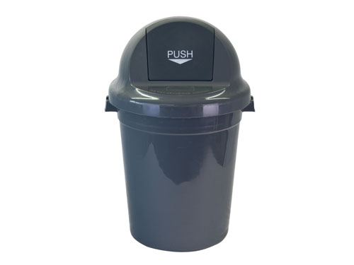 LOGX PUSH TOP BIN W/LID 95L GREY (3185)
